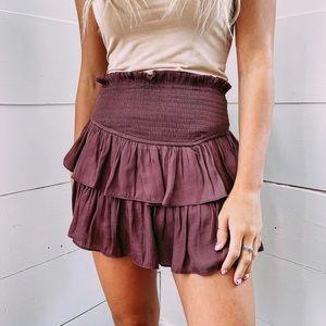 Tiered Burgundy Ra Ra Skirt